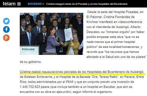 CFK, en noviembre, en el Posadas